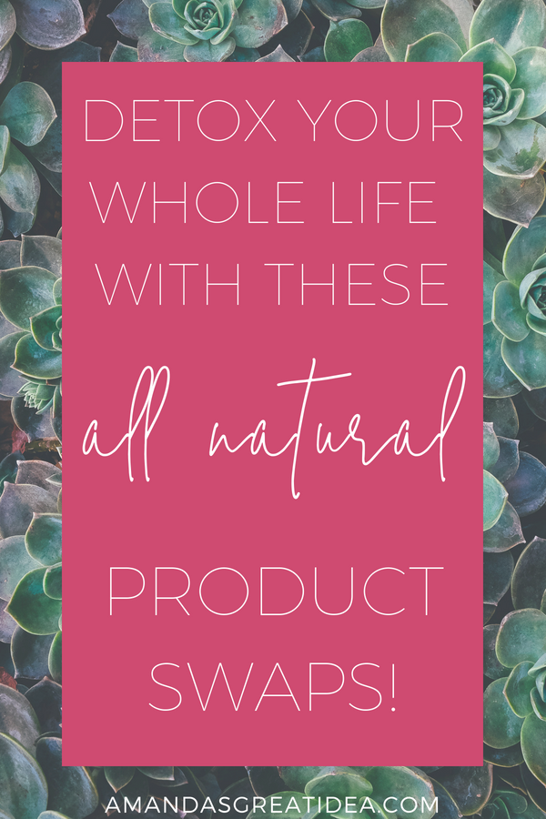 text reading Detox Your Whole Life with these All Natural Product swaps on a hot pink background overlaid on an image of succulents